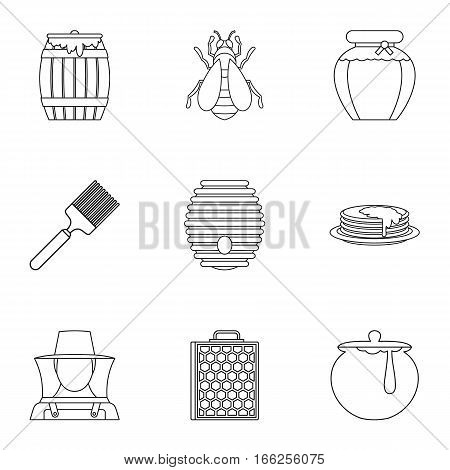 Beekeeping farm icons set. Outline illustration of 9 beekeeping farm vector icons for web