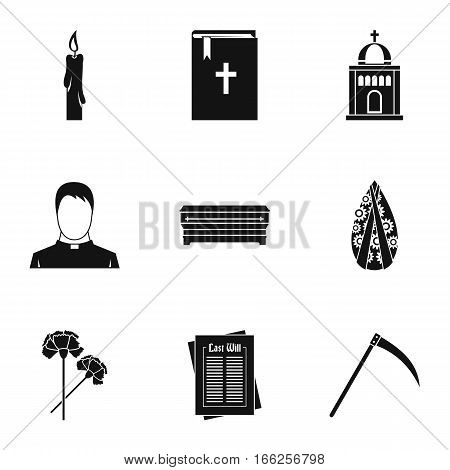Funeral services icons set. Simple illustration of 9 funeral services vector icons for web
