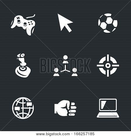 Gamepad, choice, soccer ball, joystick, social network, sight, peace, fist, laptop.