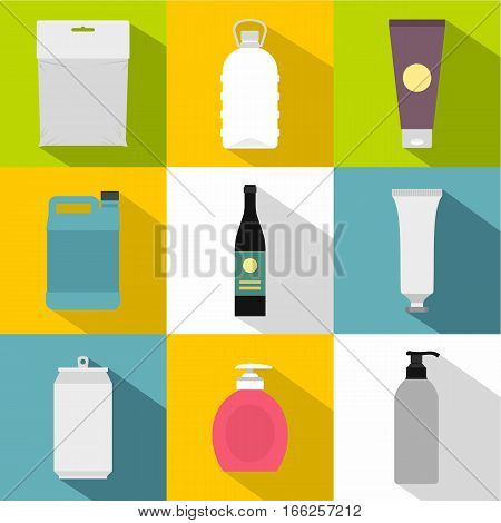 Packing icons set. Flat illustration of 9 packing vector icons for web