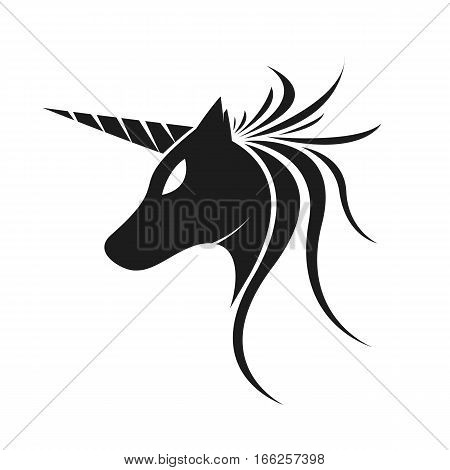Unicorn Horse Silhouette Logo. Isolated in White Background.