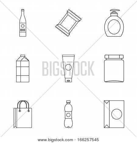 Packing icons set. Outline illustration of 9 packing vector icons for web