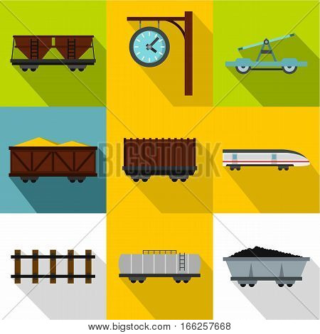 Iron way road icons set. Flat illustration of 9 iron way road vector icons for web