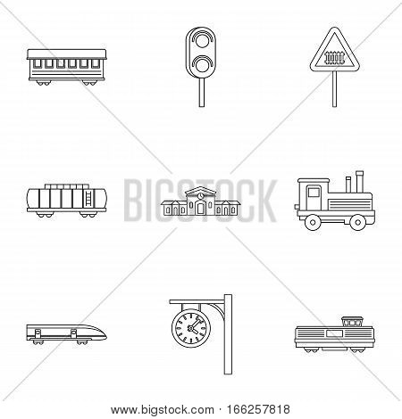 Railway transport icons set. Outline illustration of 9 railway transport vector icons for web