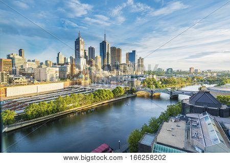 Melbourne, Australia - December 13, 2016: View of Melbourne skyline and Yarra River in the morning.