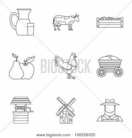 Ranch icons set. Outline illustration of 9 ranch vector icons for web