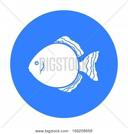 Discus fish icon blue. Singe aquarium fish icon from the sea, ocean life black.