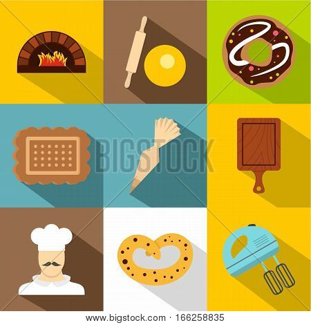 Bakery icons set. Flat illustration of 9 bakery vector icons for web