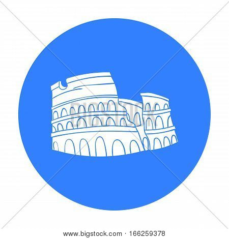 Colosseum in Italy icon in blue style isolated on white background. Italy country symbol vector illustration.