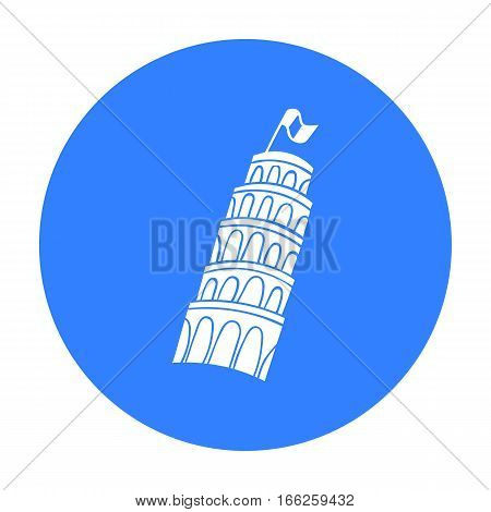 Tower of Pisa in Italy icon in blue style isolated on white background. Italy country symbol vector illustration.