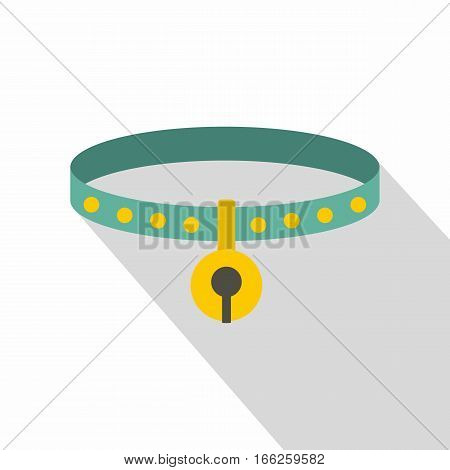 Cat collar icon. Flat illustration of cat collar vector icon for web design