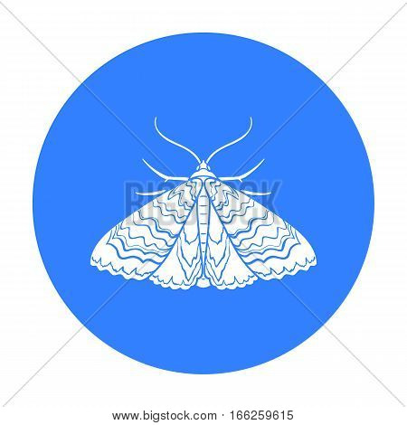 Moth icon in blue design isolated on white background. Insects symbol stock vector illustration.