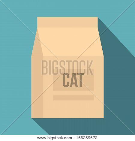 Cat food bag icon. Flat illustration of cat food bag vector icon for web design