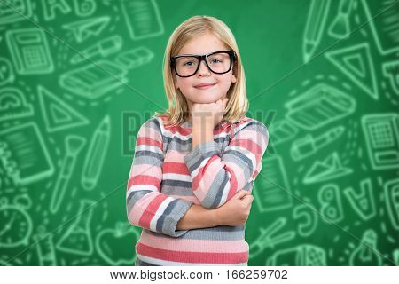 Back to school - happy kid with books and letters.