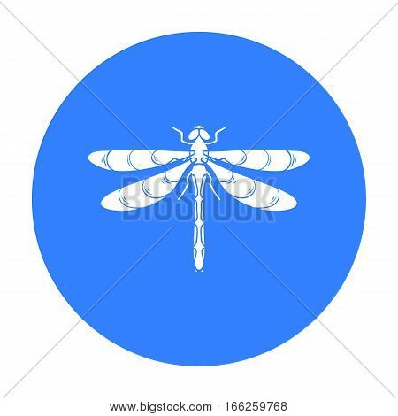 Dragonfly icon in blue design isolated on white background. Insects symbol stock vector illustration.