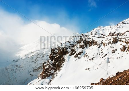 Snow-covered Mountains And Blue Sky.