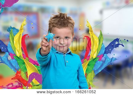 little kid about to draw something with chalk.