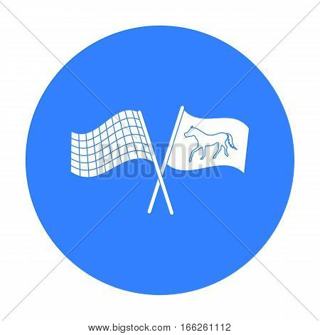 Crossed checkered and equestrian flags icon isolated on white background. Hippodrome and horse symbol stock vector illustration.