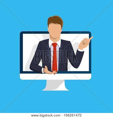 Online learning. E-learning online webinar presentation concept. Computer screen, teacher businessman. Flat design illustration for web site, mobile upp