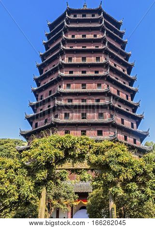 China Hangzhou. Liuhe Pagoda (Lyuheta). The height of the pagoda - sixty meters meters it consists of thirteen tiers while inside the rooms - only seven.