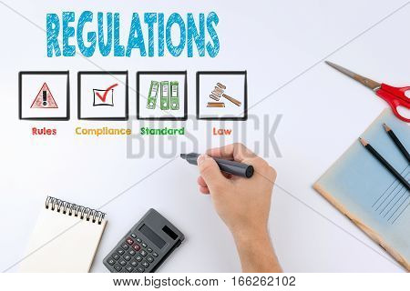 Regulations. Hand holding a black marker on white with copy space.