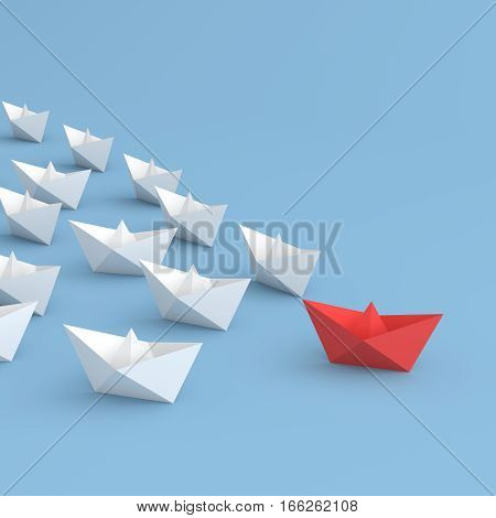 Leadership concept red leader boat leading white. 3D rendering.