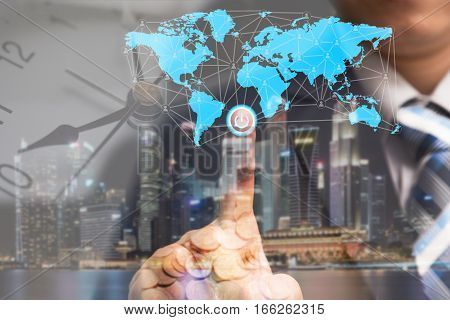 Global business concept and finance conceptual with businessman turn on power switch to connect people network communication with digital world map money and worldwide