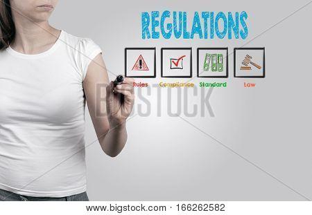 Beautiful woman writing - Regulations, business concept. Light gray background