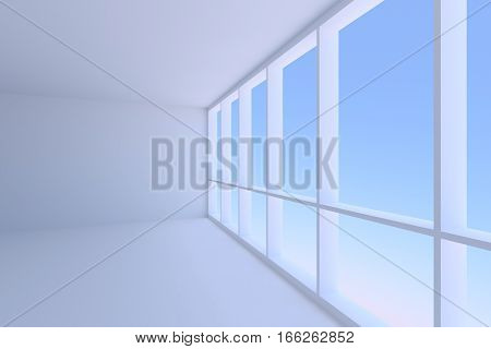 Business architecture office room interior - corner and large window in empty blue business office room with floor ceiling and walls with morning blue sky light 3d illustration