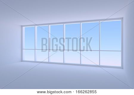 Business architecture office room interior - large window in empty blue business office room with floor ceiling and walls with morning blue sky light 3d illustration