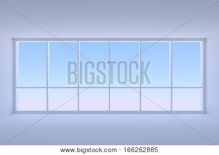 Business architecture office room interior - large window with morning blue sky light in empty blue business office room with ceiling floor and walls 3d illustration