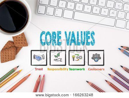 Core Values, Business concept. White office desk.