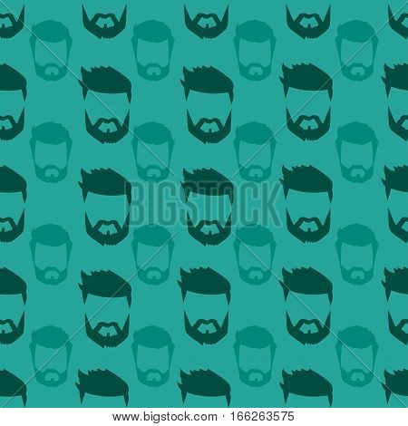 Hairstyle beard and hair face cut mask flat cartoon seamless pattern. Vector mail illustration flat fashion style. Retro design people portrait young character.