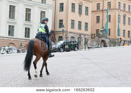 Stockholm, Sweden - October 26:polition Patrols The City On Horses,sweden - October 26 2016.