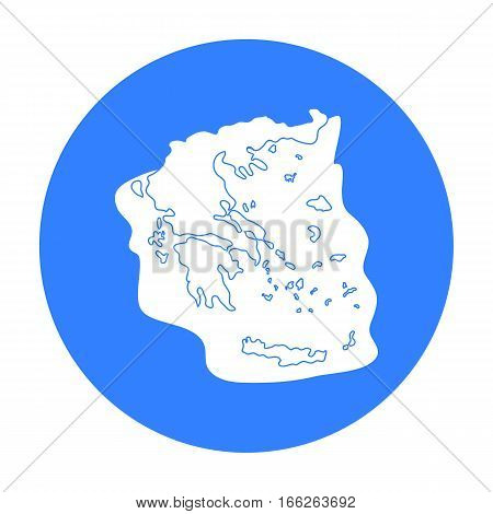 Greece territory icon in blue style isolated on white background. Greece symbol vector illustration.