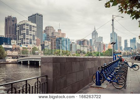 Melbourne Australia - December 27 2016: Bike share station in the city centre. People can hire bikes and explore the city