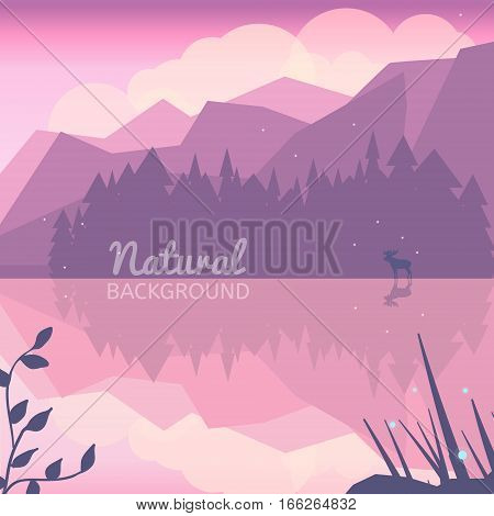 Twilight northen background. Northen lights concept illustration. Nature landscape with mountains lake forest and deer. Pink landscape.