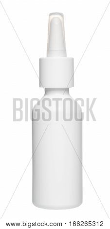 White Plastic Nasal Drops Bottle With Dispenser Pump, Mock Up, Isolated On White Background, Close U