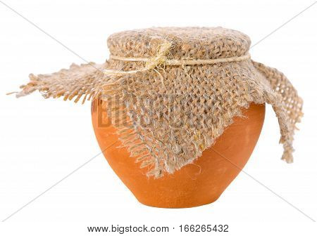 Full Ceramic Pot With Burlap Is Isolated On White Background, Close Up