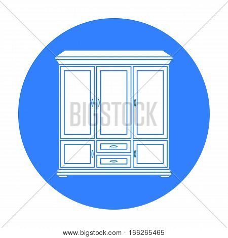 Classical cupboard icon in blue style isolated on white background. Furniture and home interior symbol vector illustration.