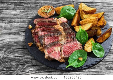 Beef Steak Medium Rare  With Spices Cut In Slices