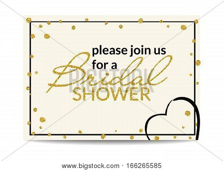 Typographic bridal shower invitation with love symbol. Please join us. Golden texture text with glitter sequins. Premium party invitation and cards design. Vector EPS10 illustration.