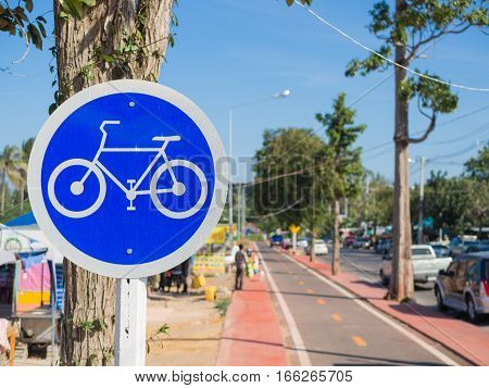 bicycle sign and symbol with bicycle lane