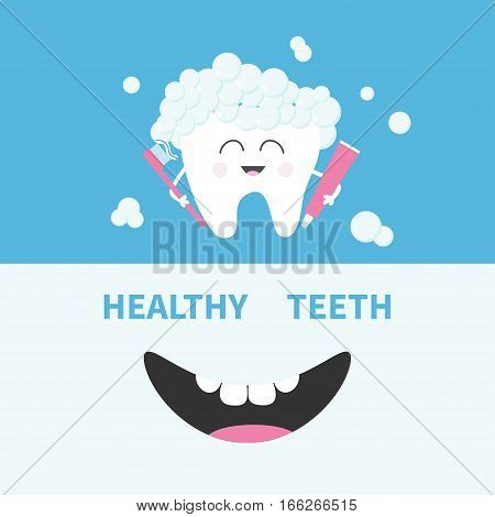 Healthy tooth holding paste and brush. Bubbles foam. Smiling mouth. Banner set. Cute cartoon character. Oral dental hygiene Children teeth care icon. Baby background Flat design Vector illustration