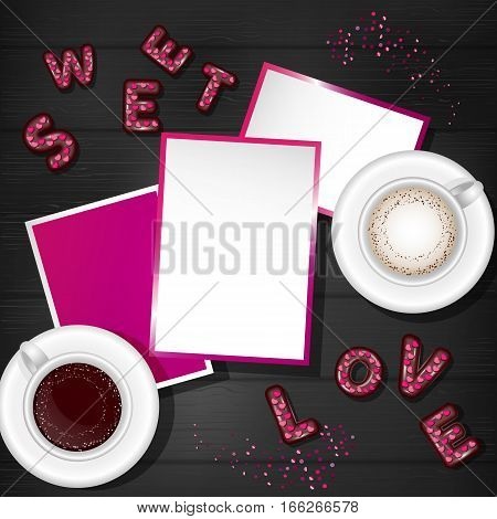 Valentine Day Scene Creator Mock up Coffee Cup, Confetti Heart, Chocolate Candy 3d Letters, Post Card
