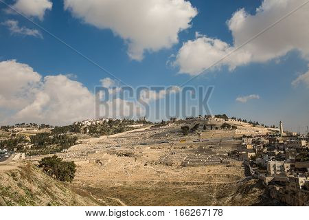 Mount of Olives in Jerusalem. Jewish cemetery ancient tombs and church on the Mount of Olives. Israel.