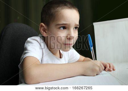 Boy doing homework in a school notebook.