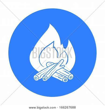 Campfire icon in blue design isolated on white background. Fishing symbol stock vector illustration.