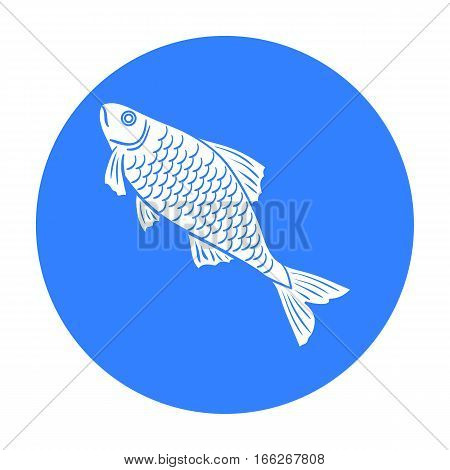 Fish icon in blue design isolated on white background. Fishing symbol stock vector illustration.