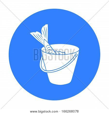 Fish in the bucket icon in blue design isolated on white background. Fishing symbol stock vector illustration.
